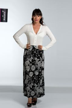 Black n white floral maxi skirt at #NICCI