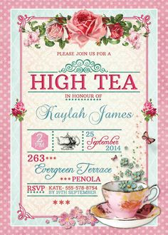 Pink watercolor floral high tea birthday party invitation pink and pink watercolor floral high tea birthday party invitation pink and gold birthday party invite tea party decorations pinterest pink watercolor stopboris Images