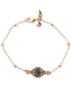 RACHEL Rachel Roy Rose-Gold-Tone Rosary Bead and Evil Eye Bracelet - Fashion Jewelry - Jewelry & Watches - Macy's