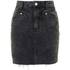 TopShop Moto Denim High-Waisted Skirt (55 CAD) ❤ liked on Polyvore featuring skirts, denim skirt, knee length denim skirt, acid wash skirt, topshop and high-waisted skirts
