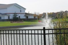Overlooking church pond toward the Intersection (Youth building).