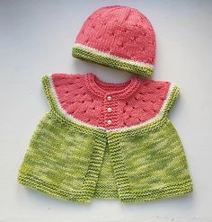 Cute little baby hat designed especially to match Stitchylinda's Watermelon Baby Cardigan Baby Cardigan Knitting Pattern Free, Knitting Patterns Boys, Baby Hat Patterns, Knitting For Kids, Baby Boy Dress, Knit Baby Dress, Watermelon Baby, Baby Sweaters, Baby Hats
