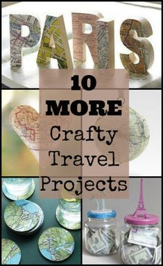 10 more crafty travel projects Travel Souvenirs, Travel Destinations, Savings Jar, Travel Crafts, Travel Flights, Travel Reviews, Christmas Ornaments To Make, Road Trip Hacks, Wooden Letters