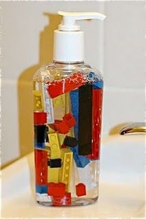 How to get kids to WANT to wash their hands...put in tiny superheros or seasonal items...Good idea for handsanitizer for the classroom too.   Love!! Especially since I'm addicted to B handsoap this is a great way to make sure it doesn't go so fast!