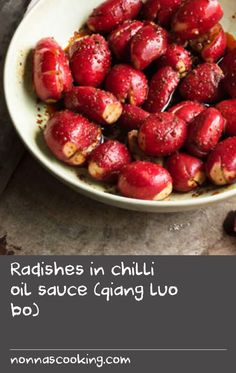 Radishes in chilli oil sauce (qiang luo bo) Basil Fish Recipe, Chinese Dishes Recipes, Red Vegetables, China Food, Radish Recipes, Cooking Fish, How To Cook Fish, Baked Fish, Fish Dishes