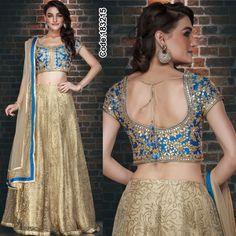 A stunning #golden #gotapatti lehenga for the contemporary look!  #Blue #LehengaCholi #GoldenLehenga #FloralMotif #Volume #Layers #Embroidery #Designer #Occasion #IndianDresses #Partywears #Indian #Women #Bridalwear #Fashion #Fashionista #OnlineShopping