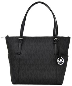 69c3432266c9 Michael Kors Jet Set Item East West Signature Top Zip Black PVC Tote with  Silver Tone Hardware * You can find out more details at the link of the  image.