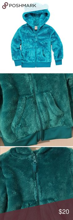Girls Toddler Arizona Teddy Bear Hoody Brand: Arizona Size: 3T  Color: Panama Teal Condition: New with tags Sleeve Length: Long Sleeve Neckline: Hooded Neck Collar: No Collar Number of Pockets: 2 Fabric Description: Knit Fabric Content: 100% Polyester Apparel Length: 18 Inches Closure Type: Zipper Pockets: Front Slip Pocket Arizona Jean Company Jackets & Coats