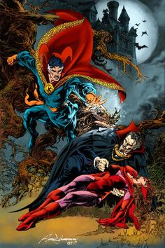 Doctor Strange and the Scarlet Witch vs Dracula,Lord of the Vampires by Rudy Nebres.