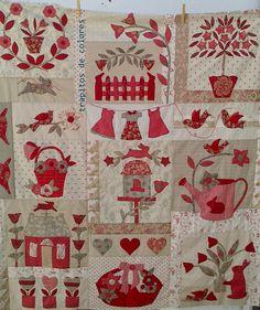 I love the colours Applique Patterns, Applique Quilts, Applique Designs, Quilt Patterns, Colchas Quilt, Patch Quilt, Quilt Blocks, Quilting, Fabric Panel Quilts