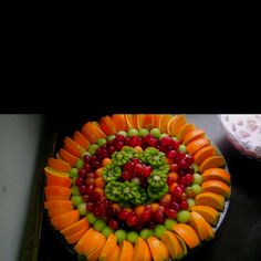 Fruit Platter use apples instead of oranges and turn them right side up to get the pink and green thing going.
