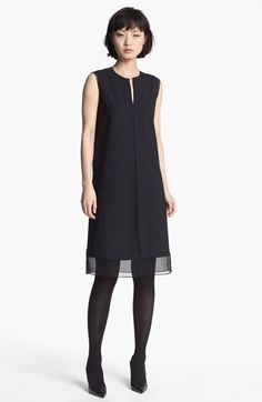 Vince | Stretch Wool & Silk Shift Dress | Gauzy sheer silk frames the split-neck bodice and extends the hemline of a streamlined wool shift with raised seams.
