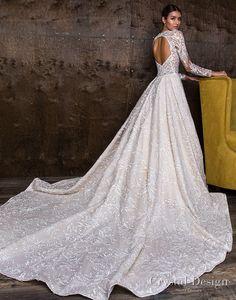 crystal design 2018 long sleeves sweetheart neckline full embellishment princess a line wedding dress keyhole back royal train (versal) bv