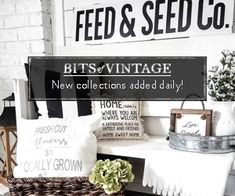 Antique Mall Booth Update - Little Vintage Cottage Country Farmhouse Decor, Farmhouse Baskets, Farmhouse Style, Antique Mall Booth, Faux Brick Walls, Patio Makeover, Faux Fireplace, Deco Floral, Christmas Ornaments To Make