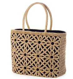 Shop fashion handbags with the Summer essentials Daisy Straw Tote. I have the smaller one but I want this! Crochet Handbags, Crochet Purses, Crochet Bags, Summer Tote Bags, Crochet Circles, Macrame Bag, Straw Tote, Black Tote Bag, Knitted Bags