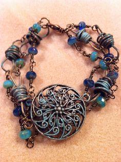 Patina blue bracelet by SallyPeas on Etsy, $15.00