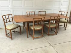 Mid century drop leaf dining table with set of six Milo/Baughman for Thayer Coggin chairs