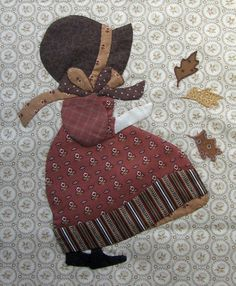 Le vent de l'automne souffle chez PassionPatchwork…. Petite illustration avec les «old fashioned Sunbonnets» de Betty Alderman : Septembre et Octobre C'est…