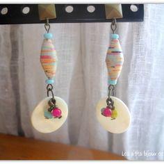 Longues boucles d'oreilles perle en papier et médaillon en nacre