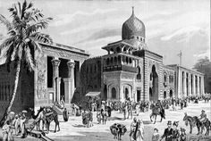 Egypt Palace, main facade, during World's Fair of 1900 in Paris Classical Period, Crystal Palace, World's Fair, 18th Century, Egyptian, Facade, Taj Mahal, Exotic, Old Things
