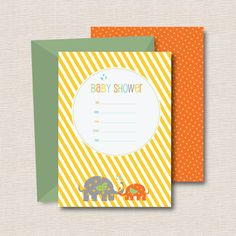 Baby Shower Fill-In Invitations // Elephant Kisses by joliodesign, $18.00