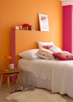 This bright and bold bedroom is painted Little Greene paint in Marigold and Leather Little Greene Paint, Pastel Interior, Orange Bedroom Walls, Bedroom Design, Wall Paint Colors, Orange Painted Walls, Bedroom Orange, Orange Paint Colors, Orange Walls