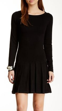 Tart | Drop Waist Pleated Sweater Dress
