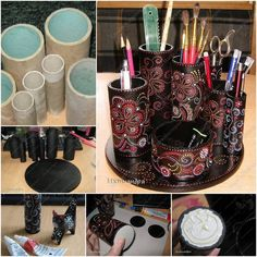paper roll crafts - amazing how far a little creativity can go!Use a tube of cardboard.Cut it into pieces with a metal saw Use acrylic black paint from a container. it was necessary to carefully paint over everything twice.After one day, apply the adhesive again, only now at the very bottom to attach the tube to the round-cardboard basis. In the final step you can cover the whole with a top coat of transparent acrylic and that is all.