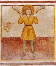 https://flic.kr/p/5Dsd38 | The Labours of the Months, Santa Maria, Mesocco, Tessin, CH | Pitture murali lungo laparete Nord della navata di Santa Maria in tre sequenze di immagini,1459-69, di cui i due registri superiori probabilmente  opera diCristoforo e Nicolao da Seregno: in alto, scene della Passione, solo la Crocifissione è riquadrata da una cornice; al centro, S. Giorgio e il drago, S. Martino che divide il suo mantello, l'arcangelo Michele che pesa le anime e i SS. Bernardino…