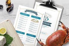 Seafood Menu Template and Logo #bar #brochure #cafe #logo #branding #cooking #label #design #illustration #fish Menu Template, Brochure Template, Business Brochure, Business Card Logo, Seafood Menu, Cool Restaurant, Menu Design, Label Design, Design Art