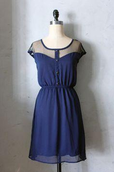 Le Petit Dejeuner Dress in Navy Blue