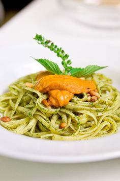 Shiso pesto pasta with uni - perfect for that big bunch of Shiso I impulse bought at the farmer's market today!