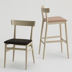Nika | Sandler Seating. Chairs and Barstools with upholstered seat and wood frame in Ash.