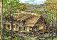 Log Home with Open Floor Plan - 13321WW   1st Floor Master Suite, Butler Walk-in Pantry, CAD Available, Exclusive, Loft, Log, Mountain, PDF, Vacation, Wrap Around Porch   Architectural Designs