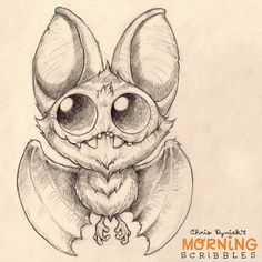 (Cute Bat)Drawing by: Chris Ryniak. This would make a great tattoo! I'd even hang him upside down. Make him Purple with Green eyes. Cute Monsters Drawings, Cute Drawings, Drawing Sketches, Drawing Ideas, Doodle Monster, Monster Drawing, Creepy Cute, Little Monsters, Cute Creatures
