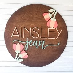 24 Inch Floral Custom Round Name Sign - Nursery Name Sign - Letters - For Nursery or Kid Room - S