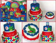 Alligator First Birthday CAKE by Cakes with L.O.V.E., via Flickr