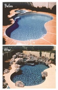 Pool Remodel with rock features Big Pools, Cool Pools, Pool Porch, Pool Hacks, Pool Remodel, Pond Ideas, Backyard Ideas, In Ground Pools, Pool Houses