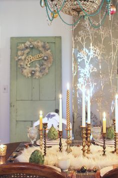 Oh this icy blue and cream palette is a lovely departure for the Holiday Home Tour. Via: Thoughts From Alice