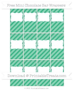 Mint Green Diagonal Striped DIY Mini Chocolate Bar Wrappers