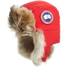 Women's Canada Goose Aviator Hat With Genuine Coyote Fur Trim (13.355 RUB) ❤ liked on Polyvore featuring accessories, hats, red, aviator hat, sun visor, sun visor hat, canada goose and red hat