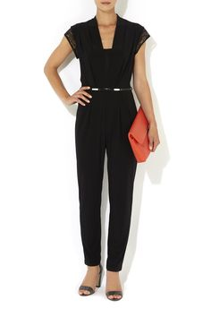 Petite Black Lace Jumpsuit - Dresses- Wallis