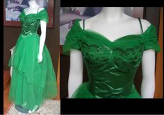 AMAZING 1950s Emerald Green Satin and Tulle Long Prom Dress Gown Cut Out Bodice LARGE SIZE Great Condition by WestCoastVintageRSL, $460.00