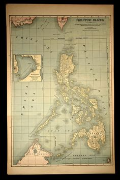 Antique Map Philippines Philippine Islands Late 1800s 1899 Vintage Maps, Antique Maps, Philippine Map, Asia Map, Filipino Culture, World Globes, Old Maps, Cactus Print, Philippines Travel
