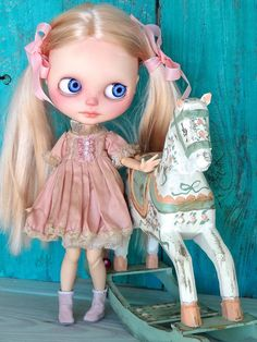 Blythe doll dress - coffee stained grunge shabby art wear - pink vintage
