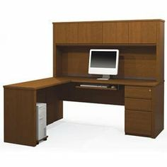 Prestige + L-Shaped Workstation Kit With Pedestal In Cognac Cherry by BESTAR. $1326.00. Prestige + L-shaped Workstation Kit with Pedestal in Cognac Cherry Includes credenza, hutch for credenza, one assembled pedestal, return table, keyboard shelf and CPU platform. Save 23%!