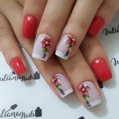 Best Nail Art Designs 2018 Every Girls Will Love These trendy Nails ideas would gain you amazing compliments. Spring Nails, Summer Nails, Best Nail Art Designs, Flower Nails, Cool Nail Art, Trendy Nails, Nail Arts, Manicure And Pedicure, Christmas Nails
