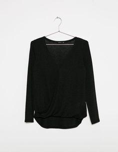 Jersey básico em malha cortada baixo frente - Sweaters - Bershka Portugal
