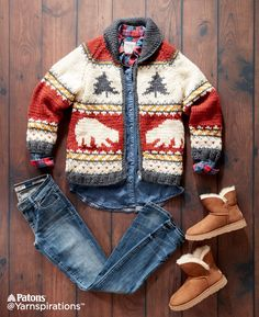True North Knit Jacket  Knit   Free Pattern   Yarnspirations  Canada 150