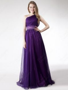 Wholesale - Sheath/Column One Shoulder Chiffon Floor-length Purple Beading Evening Dress